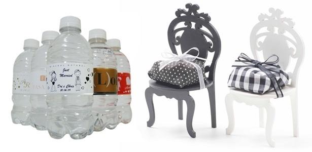 Lembrancinhas de casamentos: garrafas de água personalizadas e cadeiras com bem-casados - Divulgação