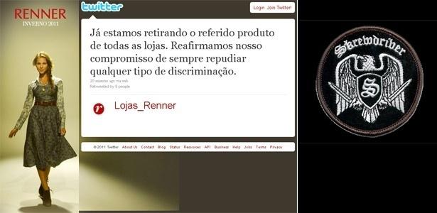 """Comunicado da Renner enviado à imprensa e colocado no Twitter; e """"patch"""" similar ao usado em moletom vendido pela loja de departamento - Montagem/UOL"""