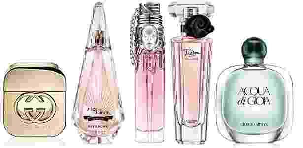 Perfumes que estão entre os concorrentes da principal categoria do FiFi Awards 2011 - Montagem/UOL