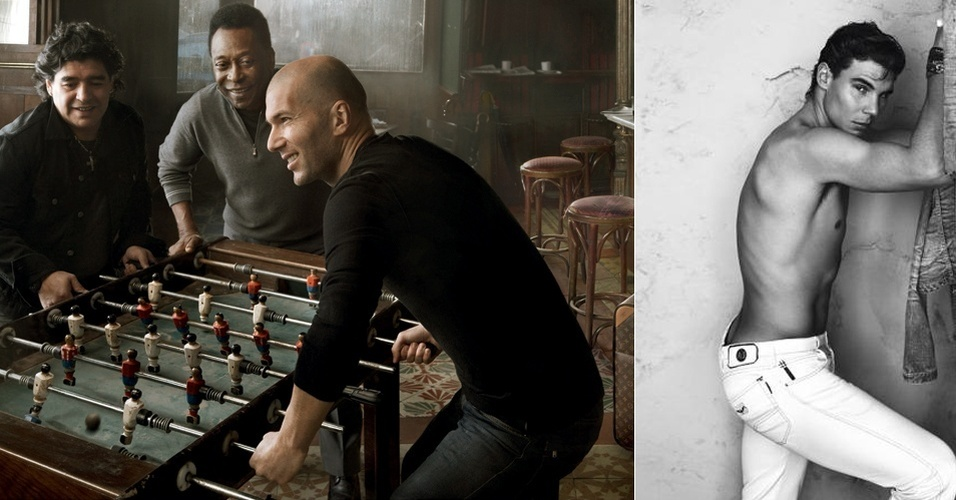 Campanha da Louis Vuitton com Maradona, Pelé e Zinédine Zidane; e da Armani Jeans, com Rafael Nadal