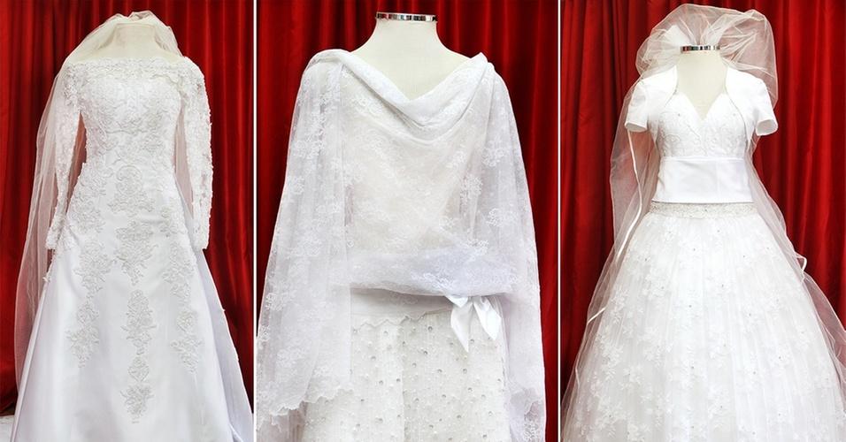 Vestidos da exposição Mostra Moda Noiva na loja Fashion Noivas, em São Paulo