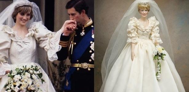 Imagem do casamento de Lady Di (1981), em que a princesa usa a coroa que Kate Middleton quer dispensar. Ao lado, boneca com reprodução do vestido, coroa, véu e buquê usados por Lady Di - Divulgação