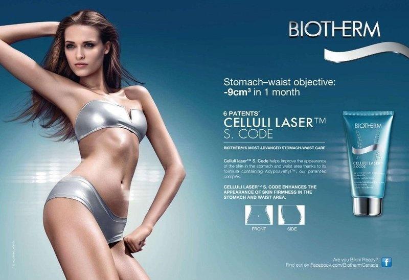 Abril: A modelo polonesa Janeta Samp estrela a campanha do Celluli Laser da Biotherm, produto que promete aumentar a firmeza da pele na região do estômago e da cintura