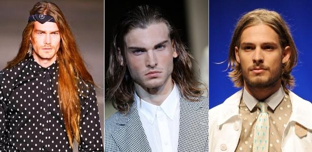 Modelos cabeludos nos desfiles da Auslander, Giorgio Armani e Etro para o Verão 2012 - Montagem/UOL