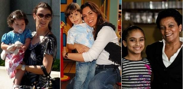 Da esquerda para a direita, Monica Martelli, Virginia Novick e Janete Santos, acompanhadas de seus filhos - Fotomontagem/AgNews/Divulgação/Haroldo Sabioa