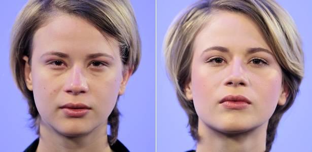 """Antes e depois: Efeito da maquiagem """"nada"""" que uniformiza o tom da pele e deixa o rosto mais iluminado e descansado - Flavio Florido/UOL"""