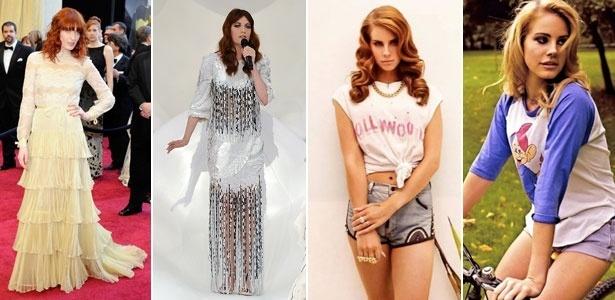 Musas do universo indie, Florence Welch e Lana Del Rey têm estilos diferentes, mas agradam fashionistas - Montagem UOL / Getty Images / Divulgação