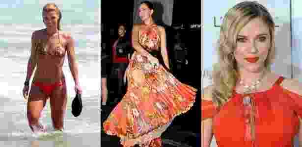 As famosas e o laranja da temporada: Carolina Dieckmann aproveita o verão na Praia da Barra com o biquíni da cor; Camila Pitanga e seu longo esvoaçante nos corredores da São Paulo Fashion Week, e o make laranja de Scarlett Johansson.  - Delson Silva/AgNews; Milene Cardoso/FolhaPress e AFP