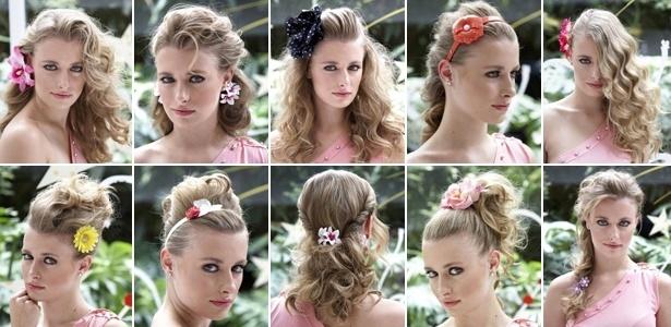 Diferentes penteados, com diferentes tipos de flor, criados por Biaggi - Rodrigo Niemeyer/UOL