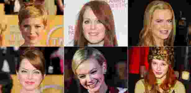 (Sentido horário) Michelle Williams, Julianne Moore, Nicole Kidman, Christina Hendricks, Carey Mulligan e Emma Stone - Getty Images