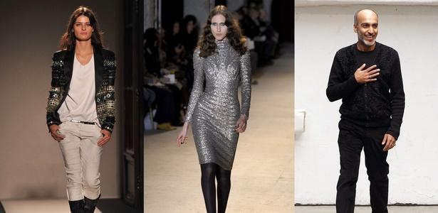 Balenciaga e Balmain foram os dois desfiles mais aguardados do dia em Paris. Manish Arora (dir.) é o novo estilista da grife Paco Rabanne - Montagem UOL