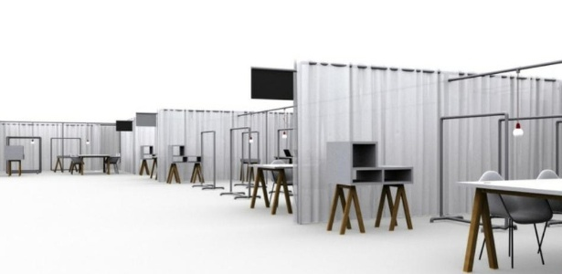 Projeto das instalações dos stands da GaleriaMais, que acontecerá no pavilhão de exposições da Oca, em São Paulo