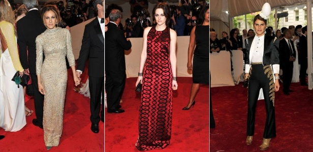 Sarah Jessica Parker, Kristen Stweart e Anna Dello Russo no baile de gala do MET 2011 - Getty Images