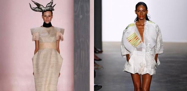 Looks de Acquastudio e Melk Z-da para o Verão 2012, desfilados no Fashion Rio (30/05/011) - Montagem/UOL