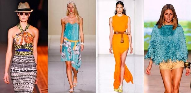 Looks de Têca, Maria Bonita Extra, Filhas de Gaia e Coca-Cola Clothing para o Verão 2012 (02/06/2011) - Montagem/UOL