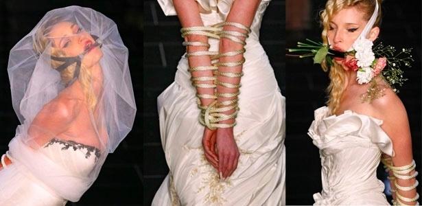 """""""O estilista instalou o espírito escandaloso na passarela, com noivas amarradas"""", comentou a blogueira do """"Fashionista"""" sobre o desfile de Samuel Cirnansck - Alexandre Schneider/UOL"""
