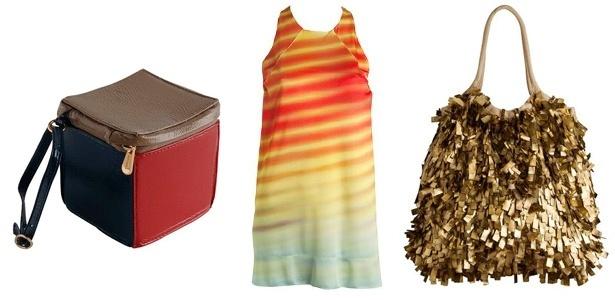 A Osklen liquida com descontos de até 70%. O preço da bolsa cubo caiu de R$ 197, o vestido colorido para R$ 197 e a bolsa dourada caiu de para R$ 397 - Divulgação