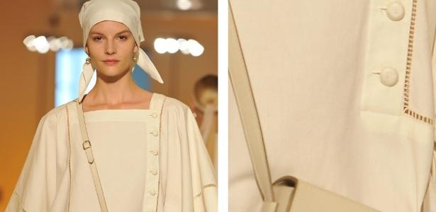 No destaque, acessório apresentado no desfile da Hermès, em Paris - Montagem/UOL