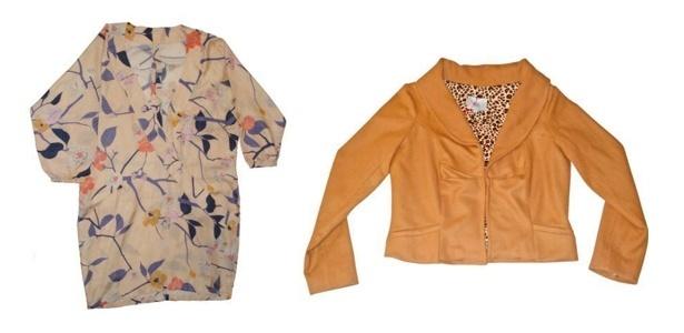 No bazar da Têca o vestido estampado de seda que antes custava R$ 599 agora sai por R$ 120 e a jaqueta caiu de R$ 480 para R$ 149 - Divulgação