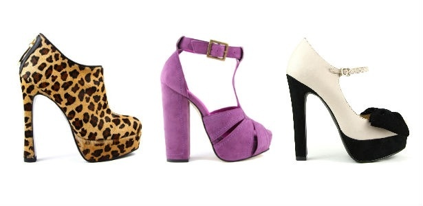 O Studio TMLS vende no Brasil e em nas principais lojas de departamento londrinas e agora abre um ponto no Shopping Morumbi. A ankle boot de onça custa R$ 450, a sandália lilás de salto grosso custa R$ 465 e o sapato preto e branco, R$ 355 - Divulgação