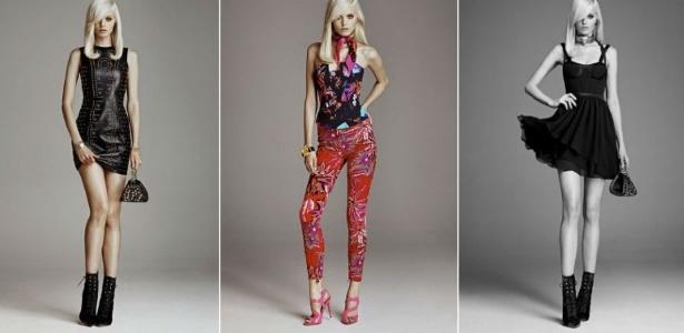 Looks da marca italiana de luxo Versace, que fez parceria com a H&M, em coleção lançada em novembro nas lojas da Europa e dos EUA - Divulgação