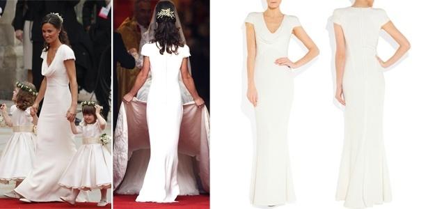 À direita, Pippa Middleton no casamento real usando um vestido Alexander McQueen com valor estimado de R$ 60 mil. À direita, o vestido à venda online por R$ 6.000