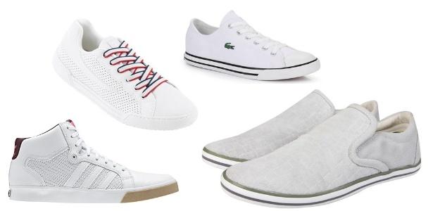 """Novos modelos do clássico tênis branco. Há opções de cano alto ou baixo, com detalhes coloridos ou em """"off-white"""" - Divulgação"""