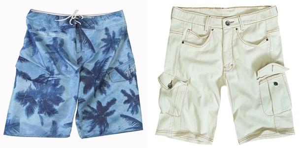 Bermuda estilo surfista com estampa de coqueiro e modelo de jeans branco com bolso tipo cargo são boas opções para o verão - Divulgação