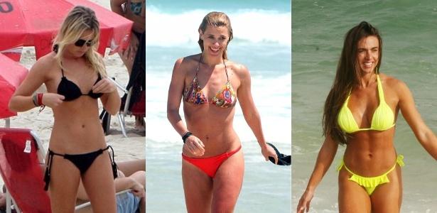 f7bb144901c1 As atrizes Fiorella Mattheis e Carolina Dieckmann e a modelo Nicole Bahls  desfilam seus biquínis na
