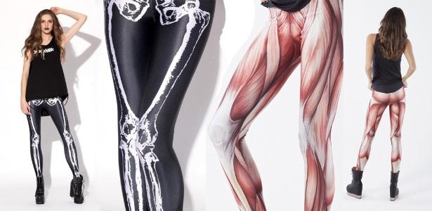 Leggings da Black Milk com estampa de ossos e músculos - Divulgação