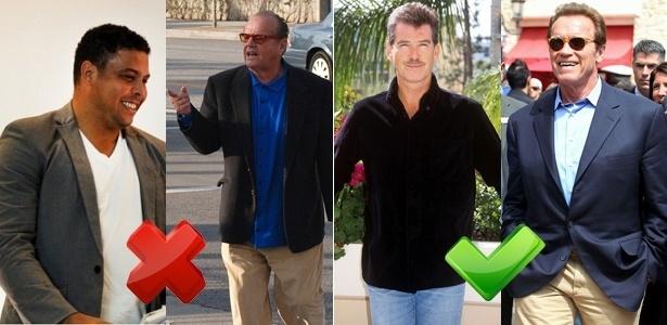 Ronaldo Nazário e Jack Nicholson erram ao usar o paletó aberto; Pierce Brosnan e e Arnold Schwarzenegger favorecem a silhueta com a peça abotoada