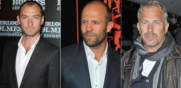 Jude Law, Jason Statham e Kevin Costner são alguns dos famosos que não deixaram de fazer sucesso com a queda do cabelo - Getty Images/Getty Images/Brainpix