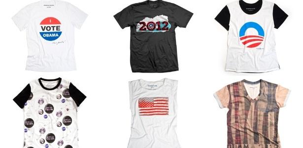 Camisetas criadas por estilistas famosos para a coleção Runway to Win, criada para arrecadar fundos para a campanha de Barack Obama - Divulgação