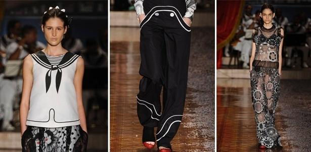 Na loja de Ronaldo Fraga pode-se encontrar a blusa marinheiro, de R$ 390 por R$ 234, a calça marinheiro, de R$ 460 por R$ 345 e o vestido de tule bordado, de R$ 1890 por R$ 1417,50 - Divulgação