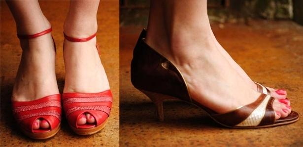 Na Luiza Perea pode-se encontrar o sapato de couro marrom com salto gatinho  e a sandália peep toe em couro de peixe por R  279 3b19673d984