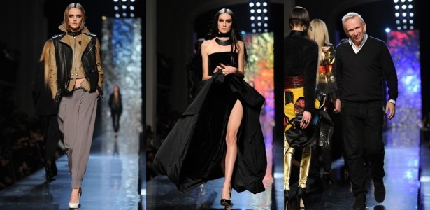 Looks de Jean Paul Gaultier (na última foto, da esq. para a dir.) para o Inverno 2012 desfilados na Semana de Moda de Paris (3/3/2012) - Getty Images