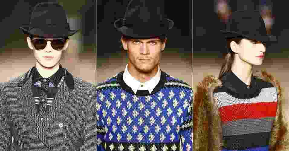 O chapéu fedora é um bom arremate para looks femininos ou masculinos. Esta é a proposta da 2nd Floor para o Inverno 2012, apresenta durante o São Paulo Fashion Week - Alexandre Schneider/UOL