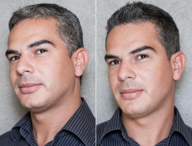 Antes e depois do gerente de loja William Pereira, 32, que topou participar da transformação proposta pela coluna Hora H - Patrícia Araújo/UOL