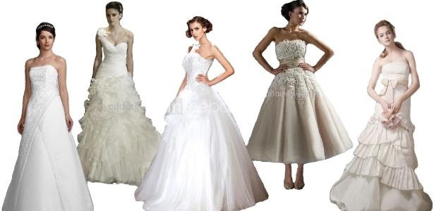 Vestidos de noiva disponíveis em lojas online: é preciso ficar atenta na hora da compra, nem sempre os acabamentos são fiéis aos mostrados nas fotos - Divulgação/Montagem UOL