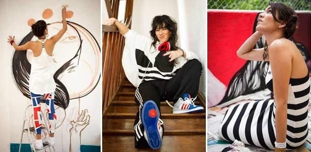 A artista plástica Magrela, a DJ Japa Girl e a também artista plástica Sinhá (da esq. para a dir.) foram fotografadas para campanha da linha Originals da marca esportiva Adidas - Montagem UOL / Divulgação Adidas Originals