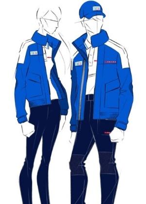 Desenhos dos uniformes olímpicos da equipe marítima, criada pela grife italiana Prada - Divulgação