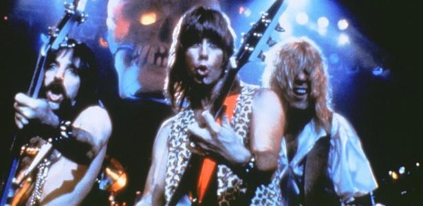 """Os integrantes da banda fictícia Spinal Tap, em cena do filme """"This Is Spinal Tap"""" de 1984"""