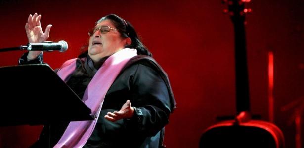 Cantora argentina Mercedes Sosa durante a apresentação em Tel Aviv, em outubro de 2008 - EFE