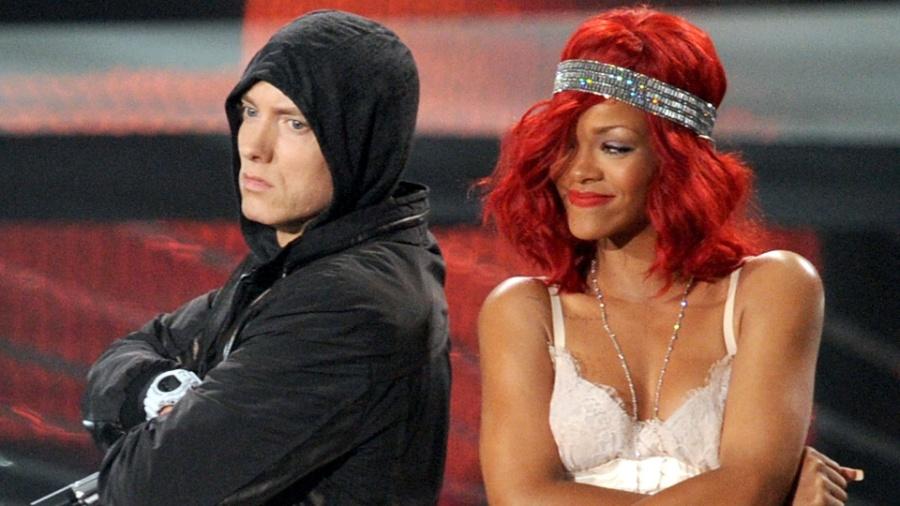 Eminem e Rihanna dividem o palco no MTV Video Music Awards (VMA) 2010, em Los Angeles (12/09/2010) - Getty Images