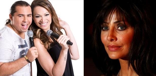 A banda Aviões do Forró e a cantora Natalie Imbruglia