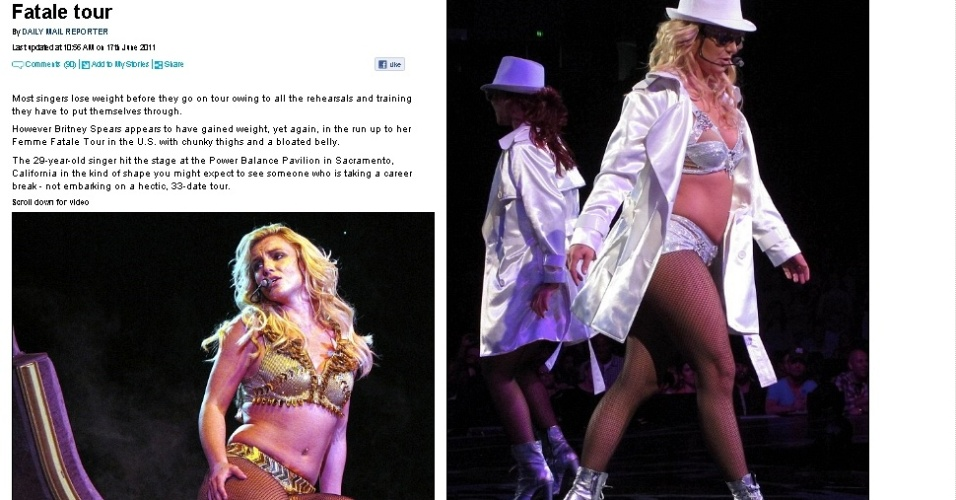 """""""Daily Mail"""" publica fotos de Britney Spears exibindo gordurinhas durante o primeiro show da turnê """"Femme Fatale"""" em Sacramento (16/6/2011)"""