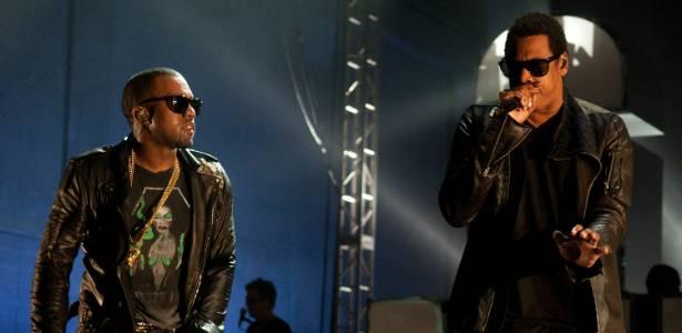 Os rappers Kanye West e Jay-Z durante apresentação em Austin, no Texas