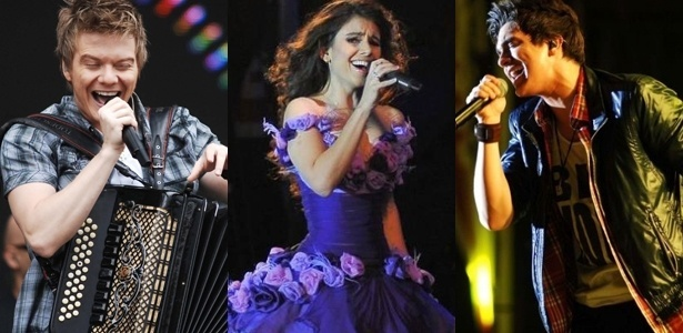 Da esquerda para a direita, os cantores sertanejos Michel Teló, Paula Fernandes e Luan Santana