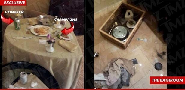 Imagens divulgadas pelo site TMZ mostram a última refeição da cantora Whitney Houston e o chão do banheiro onde ela morreu