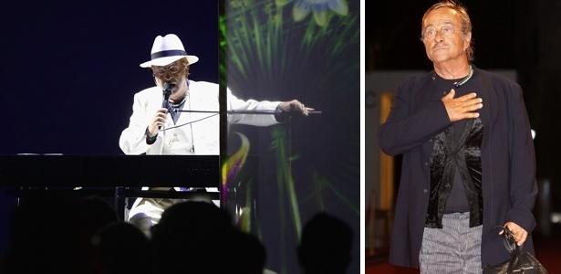 """O cantor Lucio Dalla em dois momentos: durante show em Roma em 2011, e no lançamento do filme """"ll Seme Della Discordia"""" em 2008"""